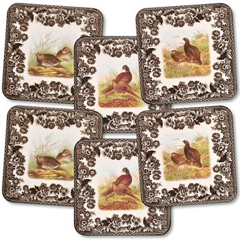 Spode Woodland Gamebird Square Coasters - Set of 6