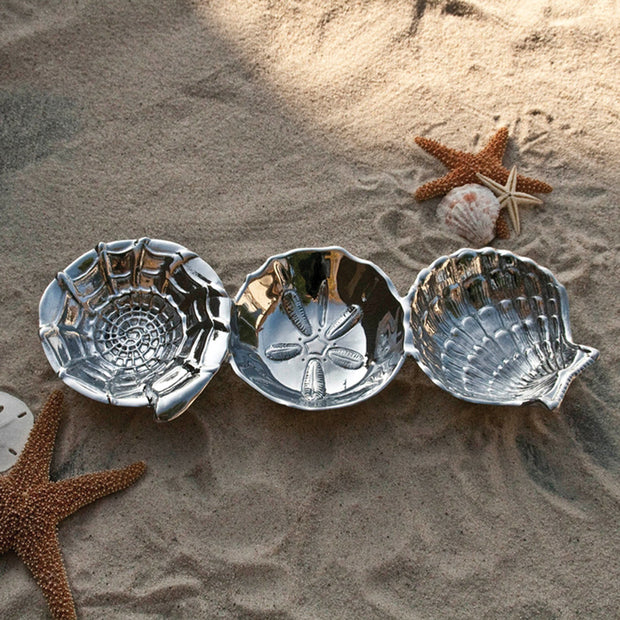 Ocean Shell Triple Dip Tray