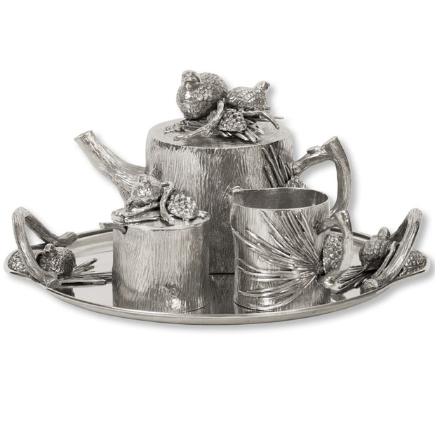 Quail & Pinecone 4 piece Tea Set