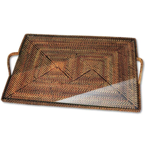 Wicker Serving Ware - Small Rect. Tray with Glass Bottom