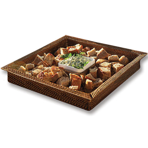 Wicker Square Chip and Dip Tray, includes Pillivuyt Dip Dish