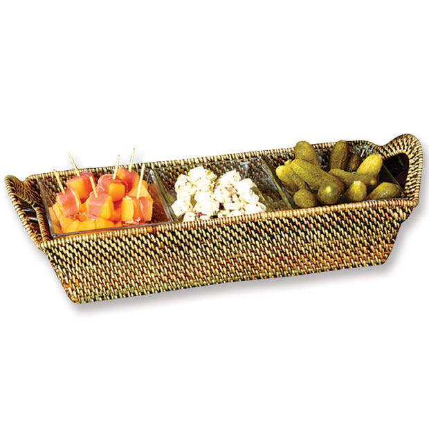 Wicker Rectangular Tray with 3 Square Glass Dishes