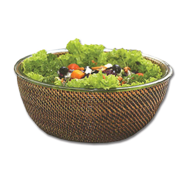 Round Wicker Salad Bowl w/ Glass Bowl