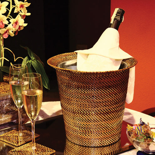 Wicker Wine & Champagne Holder with Galvanized Bucket