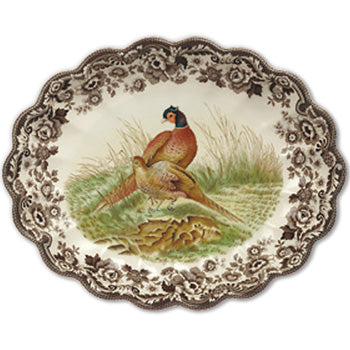 Spode Woodland Oval Fluted Dish - Pheasant 14.5""