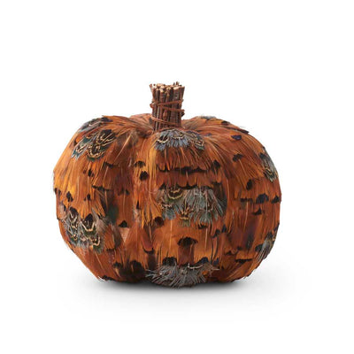 ORANGE AND BROWN FEATHER PUMPKINS