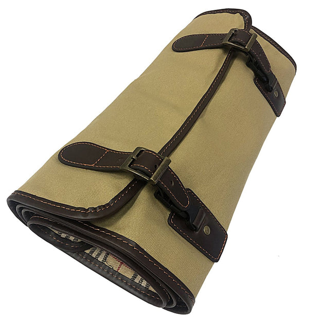 Saddle Leather and Canvas Roll-Up Cleaning Kit Carry Bag
