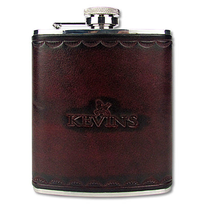 Kevin's Stainless Steel Hip Flask with Leather Cover