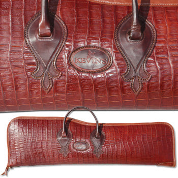 Kevin's Crocodile Print Leather Double-Gun Takedown Gunbag (1 Barrel)