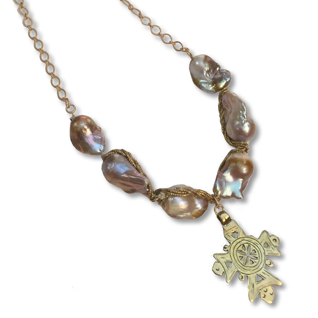 Baroque Briolette Blush Necklace