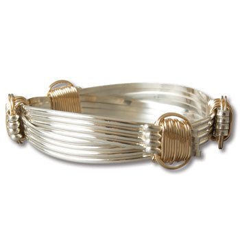 Elephant Hair Silver Two Tone Bracelet 4 Strand