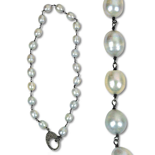 Kevin's Fresh Water Small Pearl Necklace with Pavé Diamond Clasp