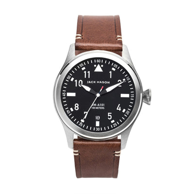 Jack Mason Aviation 3 Hand Black Dial  W/ Brown Leather Strap
