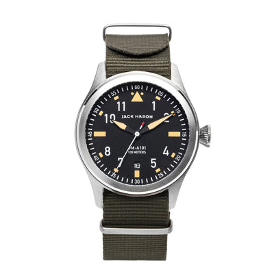 Jack Mason Aviation 3 Hand Black Dial W Nylon/Olive Strap