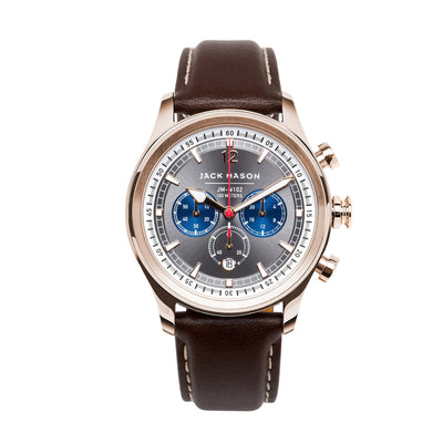 Jack Mason Nautical Chronograph Watch W/ Brown Leather