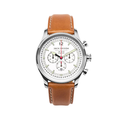 Jack Mason Nautical Chronograph Watch W/Tan Leather