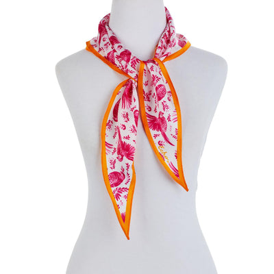 Women's Flying Around Silk Diamond Scarf-Women's Accessories-Orange & Pink-Kevin's Fine Outdoor Gear & Apparel