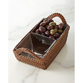 Wicker Rectangular Tray with Square 2 Glass Dishes-HOME/GIFTWARE-Kevin's Fine Outdoor Gear & Apparel