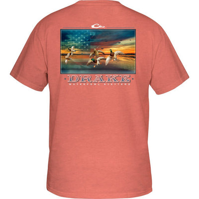 Drake Waterfowl America's Cup T-Shirt-MENS CLOTHING-Salmon-S-Kevin's Fine Outdoor Gear & Apparel