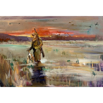 """The Duck Huntress"" Oil on Canvas by Dirk Walker-Consignment-Kevin's Fine Outdoor Gear & Apparel"