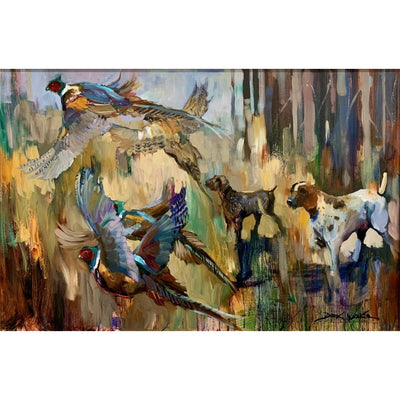 "Dirk Walker ""Jumping Pheasants"" Giclee Print-Decor-Kevin's Fine Outdoor Gear & Apparel"