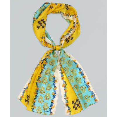 Women's Flora Silk Oblong Scarf-Women's Accessories-Yellow & Blue Flowers-Kevin's Fine Outdoor Gear & Apparel
