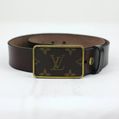 LV Buckle W/leather belt-JEWELRY-Lisa Phipps-LV-32-Kevin's Fine Outdoor Gear & Apparel