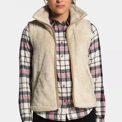 The North Face Women's Furry Fleece Vest-WOMENS CLOTHING-Bleached Sand/Hawthorne Khaki-XS-Kevin's Fine Outdoor Gear & Apparel