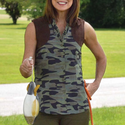 Ladies Sleeveless Huntress Camo Ruffle Shooting Blouse