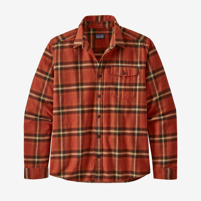 Patagonia Fjord Lightweight Flannel Shirt-MENS CLOTHING-M-Lawrence: Hot Ember-Kevin's Fine Outdoor Gear & Apparel