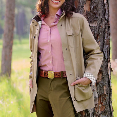Model wearing Kevin's Huntress Cotton Twill Plantation Jacket