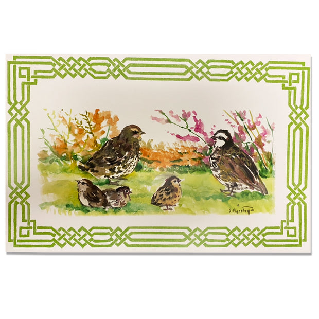 Kevin's Linen Placemats in Sporting Themes-HOME/GIFTWARE-Maison De Papier-QUAIL SCENE WITH GREEN BORDER-Kevin's Fine Outdoor Gear & Apparel