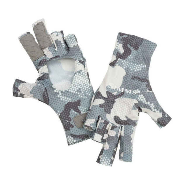 Simms SunGloves-HUNTING/OUTDOORS-HEX CAMO GREY BLUE-S-Kevin's Fine Outdoor Gear & Apparel