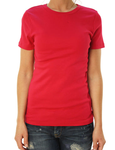 J. Crew Women's Short Sleeve Crew Neck Basic T-Shirt Raspberry Red
