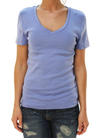 J. Crew Women's Short Sleeve V-Neck Basic T-Shirt Light Blue