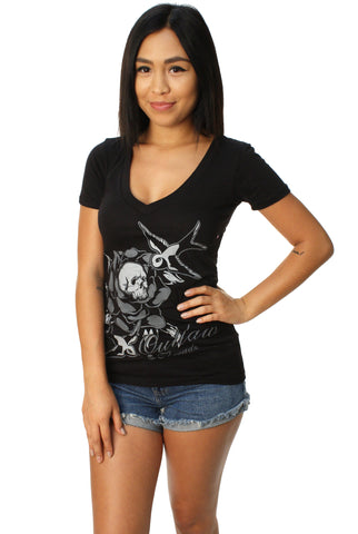 Outlaw Threadz Women's Rip V-Neck Graphic T-Shirt