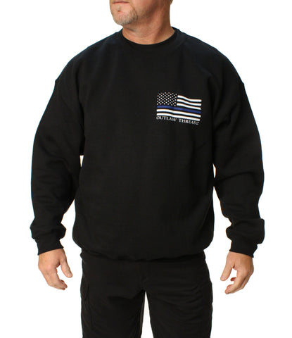Outlaw Threadz Men's Thin Blue Line Pullover Sweater