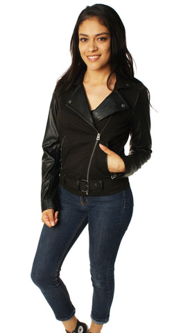 Lucky Brand Women's Fabric Mix Moto Biker Jacket