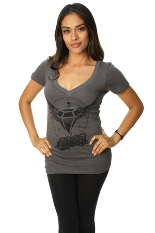 Outlaw Threadz Women's Flying Diamond V-Neck Graphic T-Shirt-Small