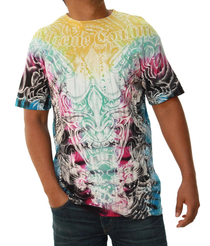 Xtreme Couture Men's Tye Dye Gargoyle Graphic Short Sleeve T-Shirt