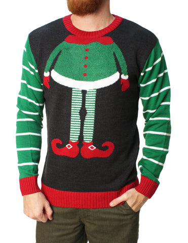 Ugly Christmas Sweater Men's Elf Head Pullover Sweater