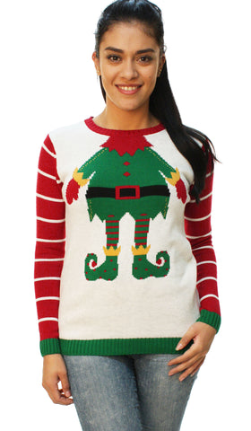 "Ugly Christmas Sweater Women's Funny ""Just Elfing Around"" Sweater"