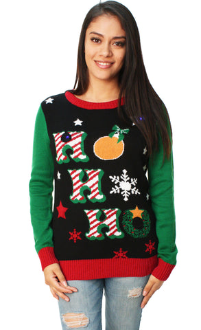 Ugly Christmas Sweater Women's Ho Ho Ho LED Light Up Sweater