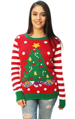 Ugly Christmas Sweater Women's Christmas Tree LED Light Up Sweater