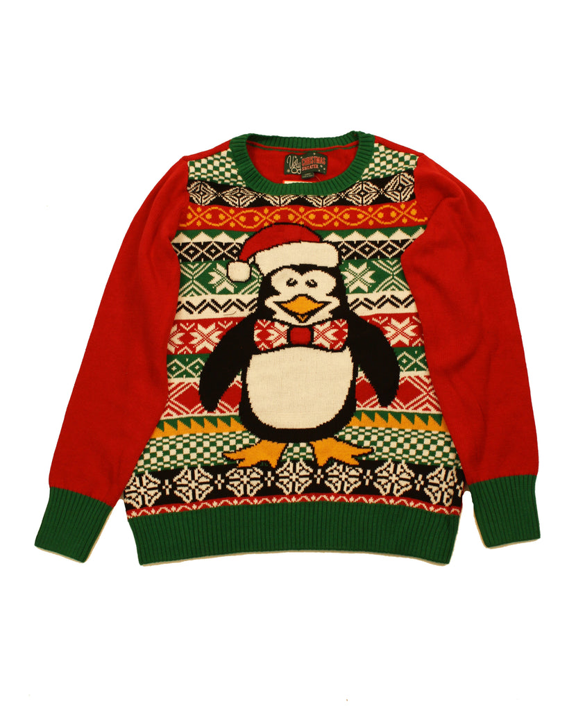 8724ec09d0a88 Ugly Christmas Sweater Women s Penguin Santa Hat LED Light Up Sweatshi –  WedgeNix