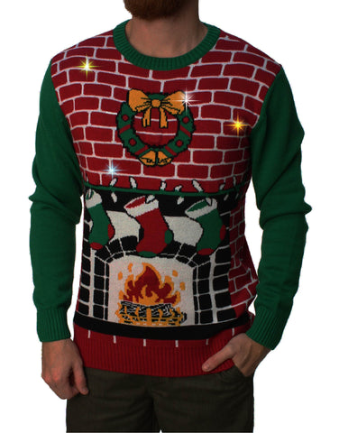 cc3d64a8320 Ugly Christmas Sweater Men s Fireplace Is Lit Light Up Sweater ...
