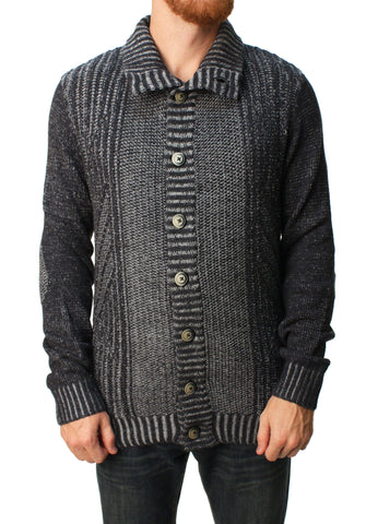 RetroFit Men's Knit Button Down Turtleneck Sweater