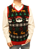 Ugly Christmas Sweater Men's Xmas Festive Holiday V-Neck Vest Sweatshirt