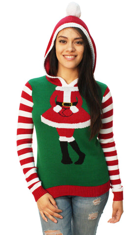 Ugly Christmas Sweater Women's Cute Santa Girl Hooded Sweater