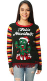 Ugly Christmas Sweater Women's Feliz Navidad Cactus LED Light Up Sweater
